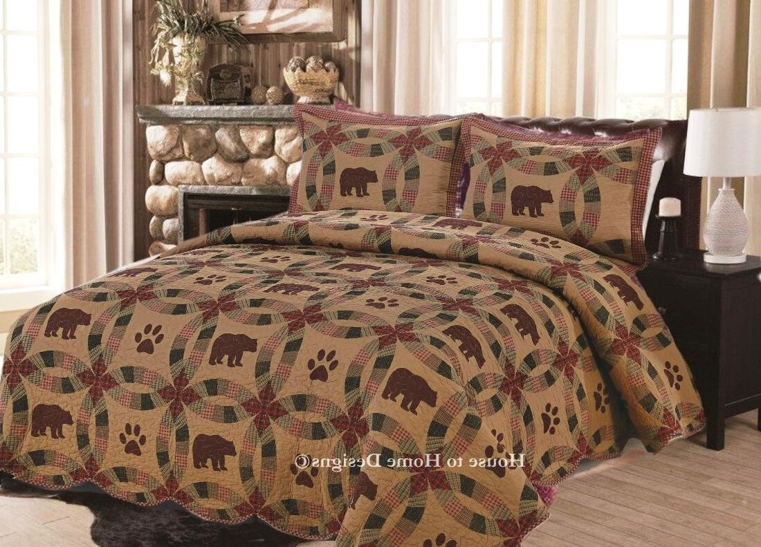 BROWN BEAR QUILT SET : CABIN RED