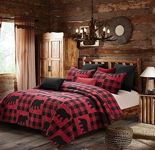 Virah Buffalo Plaid Black Bear King Quilt Set, Lodge Cabin Checks Bedding