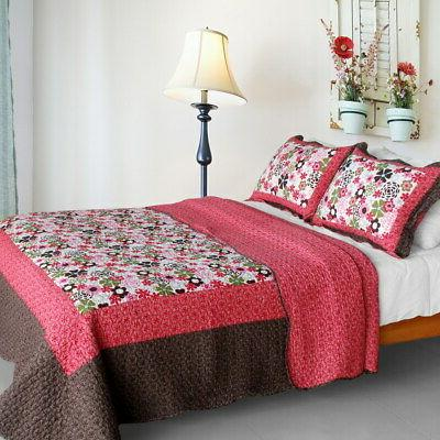 candy floral cotton 3pc vermicelli quilted printed
