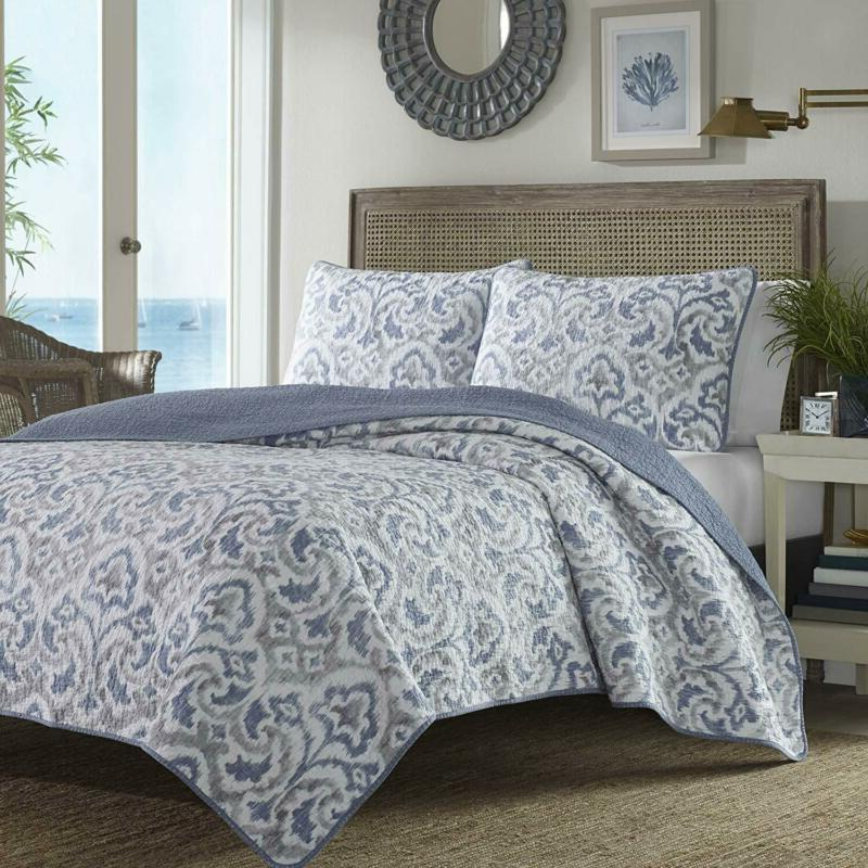 Cape Verde Quilt Set Full Queen Smoke 100 Percent Cotton Add