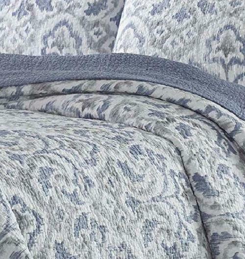 Cape Verde Quilt Set Full Queen Smoke Percent Cotton Softness