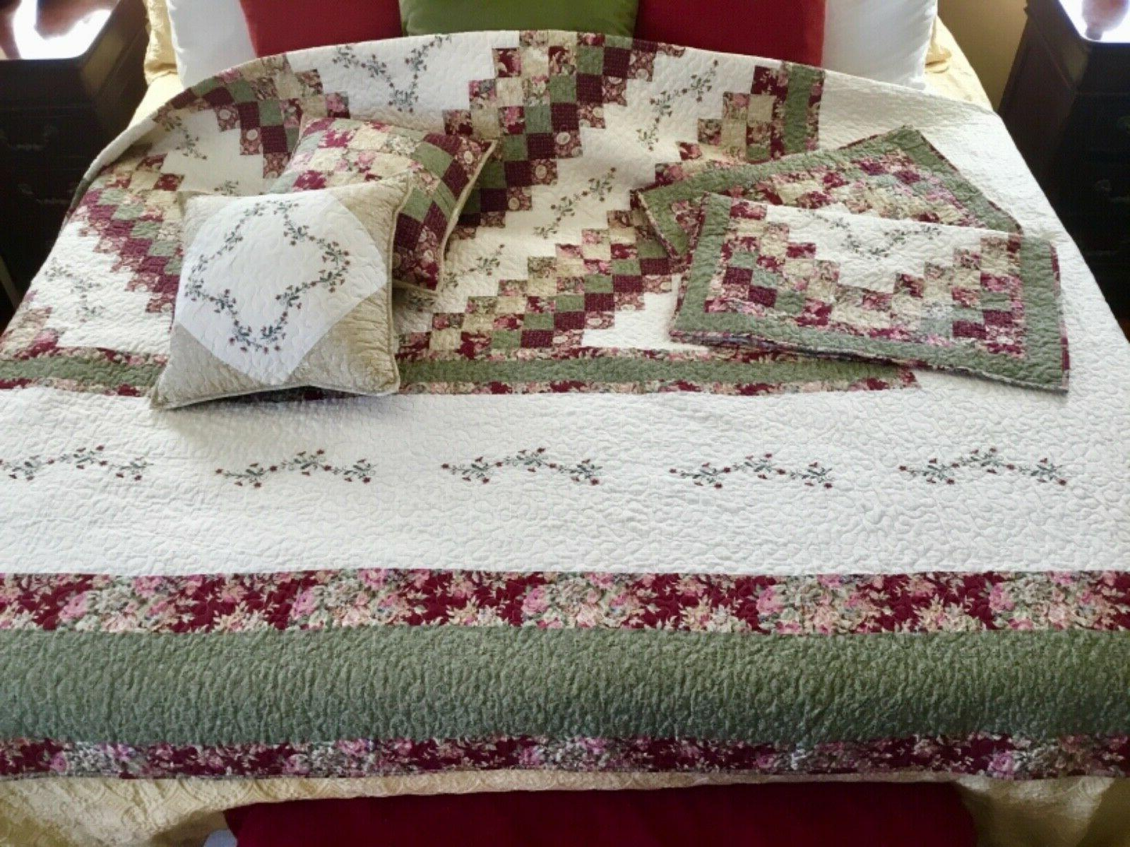 Home Expressions Quilt King Set with Shams 2 HTF