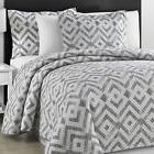 Comfy Bedding Chevron Quilted Gray and Off White 3-piece Cov
