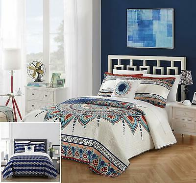 Chic Home Cypress 4 Piece Reversible Quilt Cover Set, King,