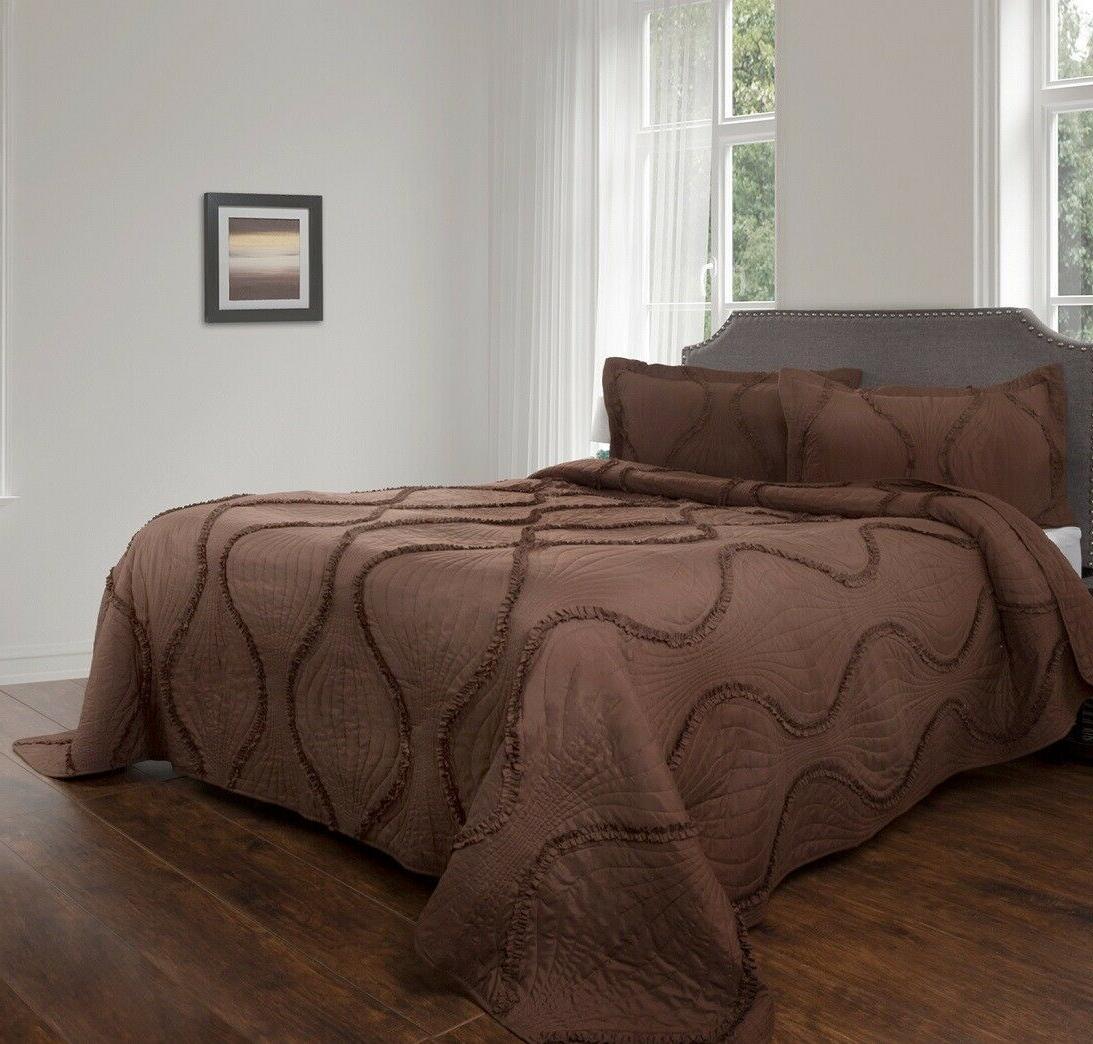 chocolate ruffles romantic twin quilt set charm