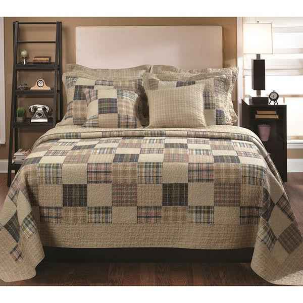 CLASSIC COZY TAN DENIM BLUE RED COUNTRY QUILT SET