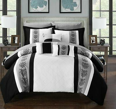 Chic Clayton Piece Comforter Color Block Pintuck Bed a