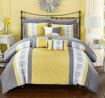 Chic 10 Piece Set Block Pintuck Bed in a Bag