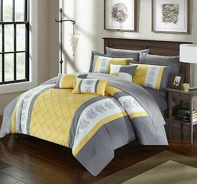 Chic Home Clayton Piece Comforter Set Color Block Pintuck in a