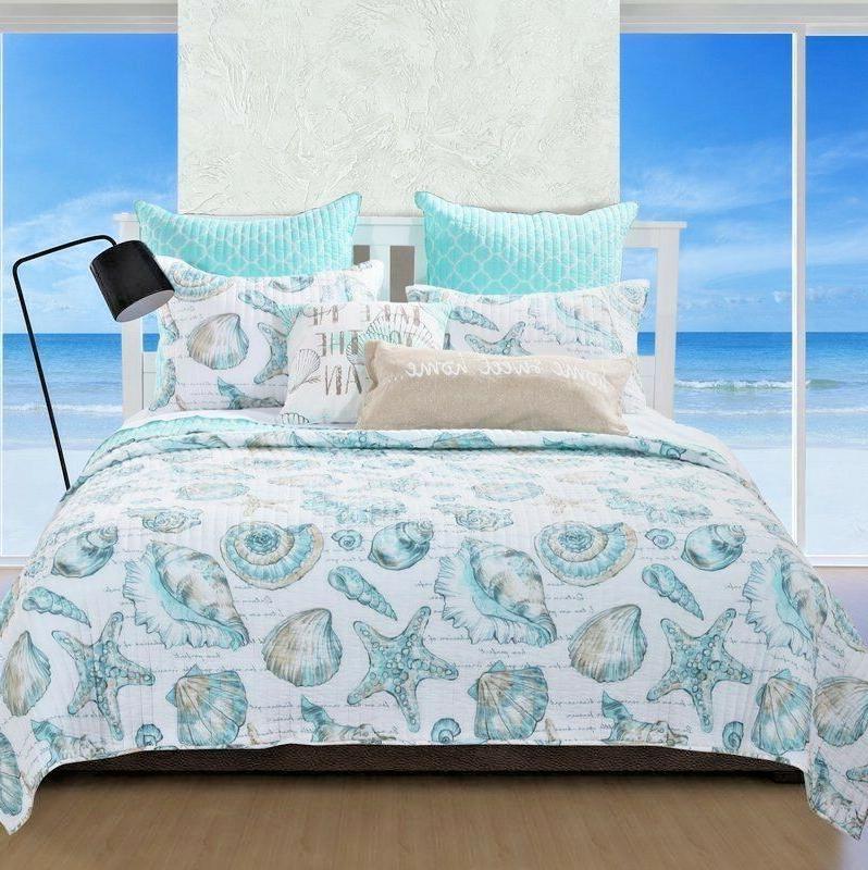 Coastal Quilt Set Queen Blue White Shells Bed Comforter Bedd