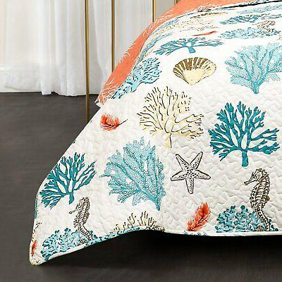 Coastal Reef Piece Feather Quilt Lush Decor
