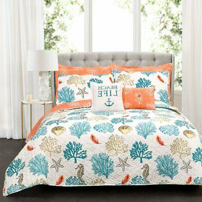 coastal reef 7 piece feather quilt set