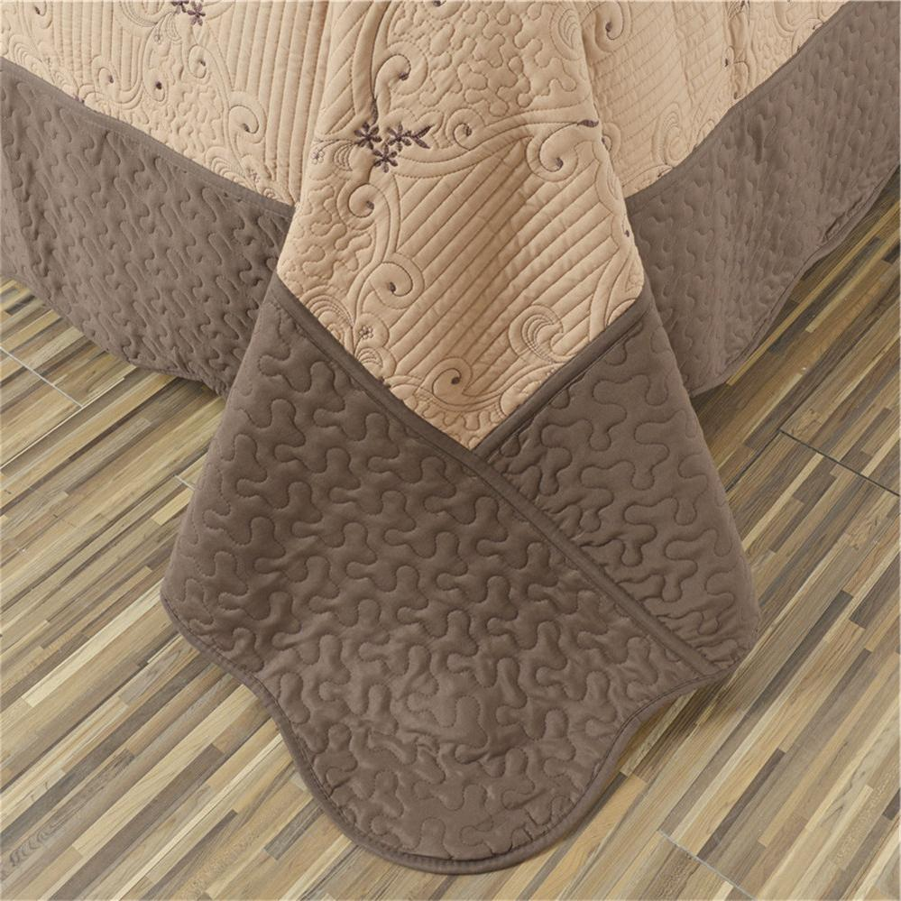 Coffee Thin Bed Cover Patchwork Coverlet 3Pcs