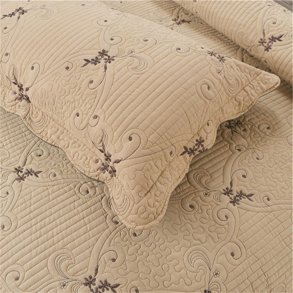 Coffee <font><b>Quilt</b></font> Thin Comforter Queen Bed Bedspread Coverlet 3Pcs