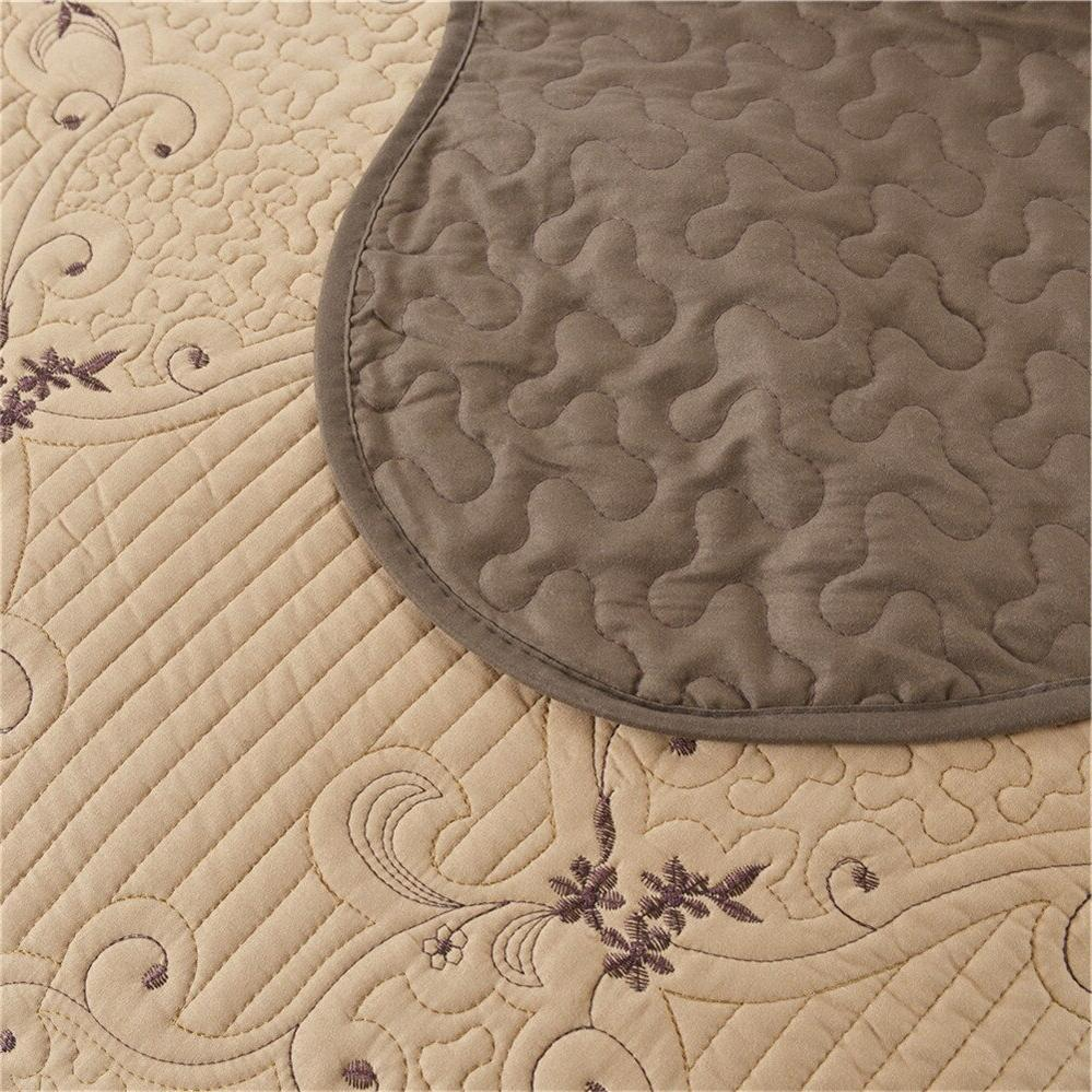 Coffee Embroidery Thin Queen Bed Coverlet <font><b>Set</b></font> 3Pcs