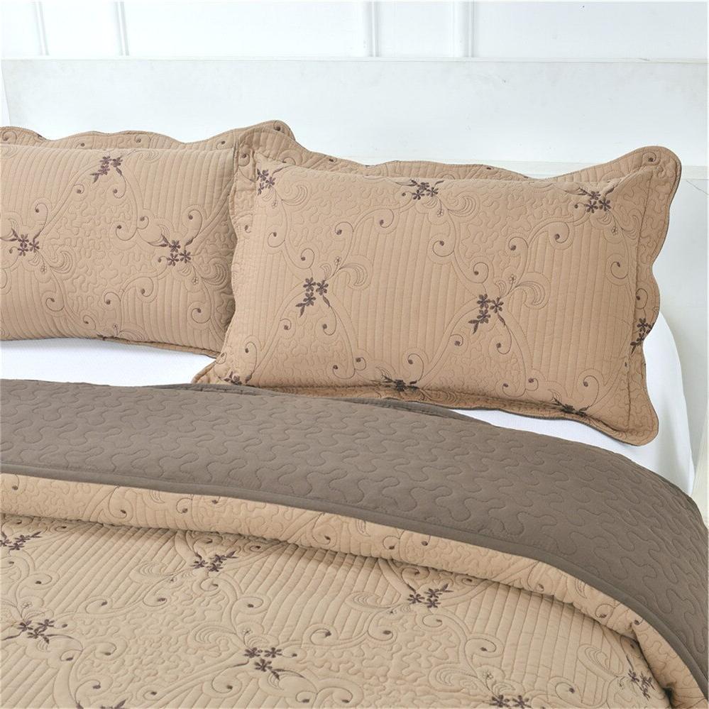 Coffee <font><b>Quilt</b></font> Thin Comforter Queen Bed Patchwork Coverlet <font><b>Set</b></font> 3Pcs D25