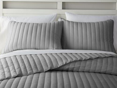 Chezmoi Collection Channel Stitched Cotton Quilt Set