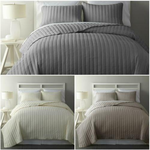 colin 3 piece channel stitched cotton bedspread