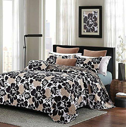 collection black rose printed quilt set queen