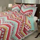 Lavish Home 2 Piece Colorful Zig Zag Flowery Quilt Twin Size