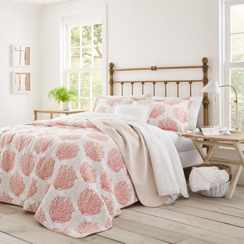 Coral Coast 2-Piece Coral Floral Reversible Cotton Twin Quil