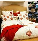 Pottery Barn Coral Quilt Set White Red Queen 2 Standard Sham