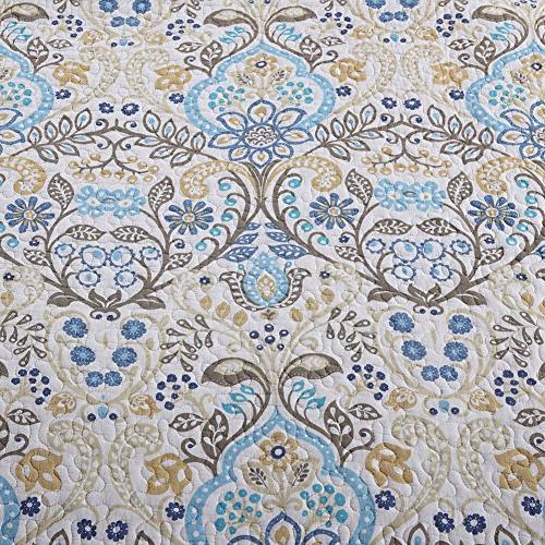 NEWLAKE Bedspread Quilt Sets-Reversible Patchwork Coverlet Set, Spring Time Pattern,