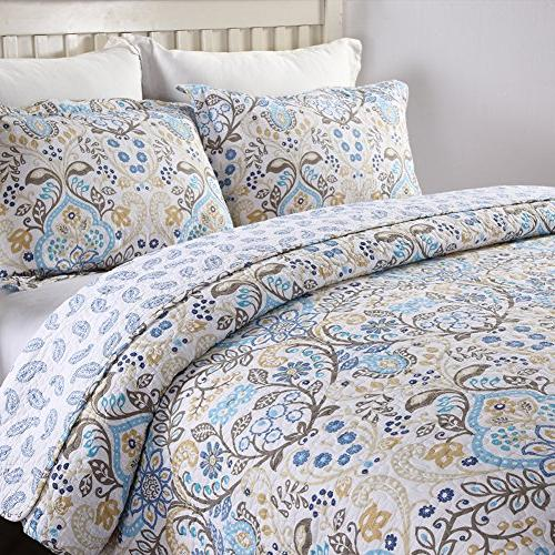 NEWLAKE Cotton Sets-Reversible Patchwork Coverlet Queen