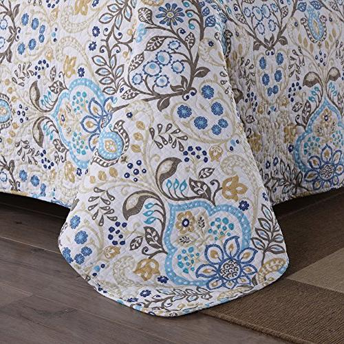 NEWLAKE Cotton Sets-Reversible Coverlet Spring Pattern, Queen Size
