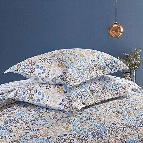NEWLAKE Cotton Quilt Sets-Reversible Coverlet Set, Spring Time Queen