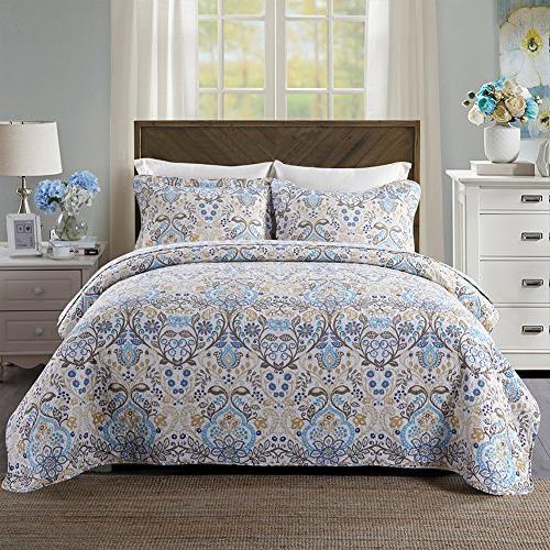 cotton bedspread quilt sets reversible