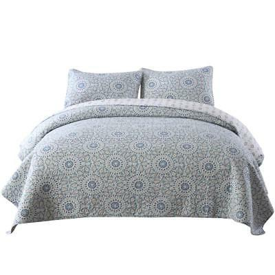 NEWLAKE Cotton Bedspread Quilt Sets-Reversible Patchwork Cov