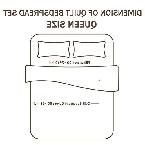 NEWLAKE Cotton Patchwork Bedspread Quilt Sets, Flower Vase Pattern,