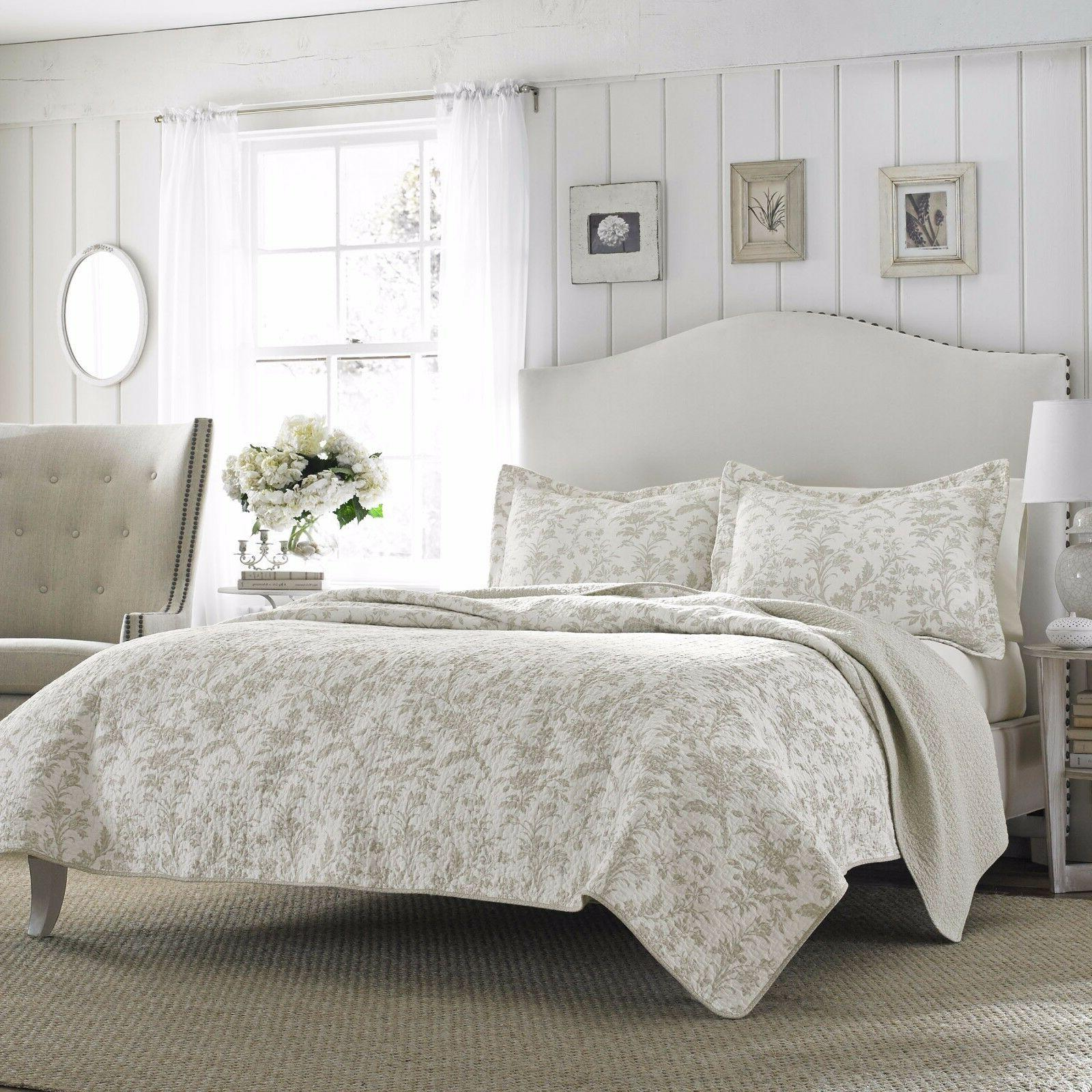 3pc LAURA ASHLEY Cotton Coverlet Quilt Set KING Size REVERSI