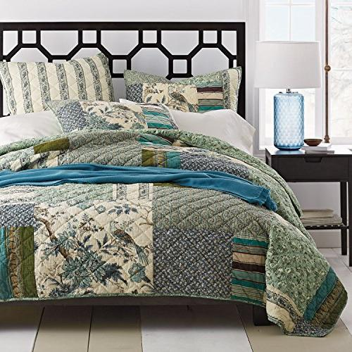 cotton floral patchwork forest glade