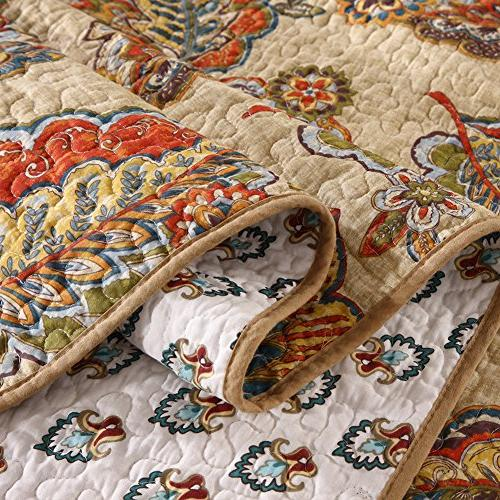 NEWLAKE Cotton Quilted Bedspread Sets-Reversible Coverlet Set, Tropical Style Pattern, Queen Size