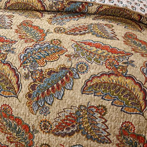 NEWLAKE Cotton Sets-Reversible Patchwork Tropical Style Queen Size