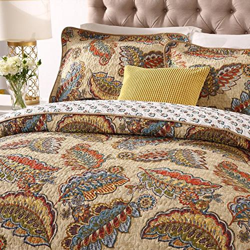 NEWLAKE Cotton Quilted Bedspread Sets-Reversible Patchwork Coverlet Set, Tropical Style Pattern, Size
