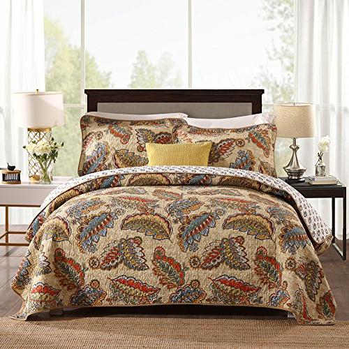 cotton quilted bedspread sets reversible