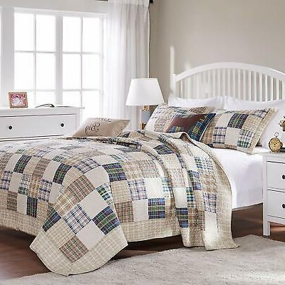 COUNTRY CABIN PLAID QUILT SET : TAN DENIM BLUE GREEN PREPPY