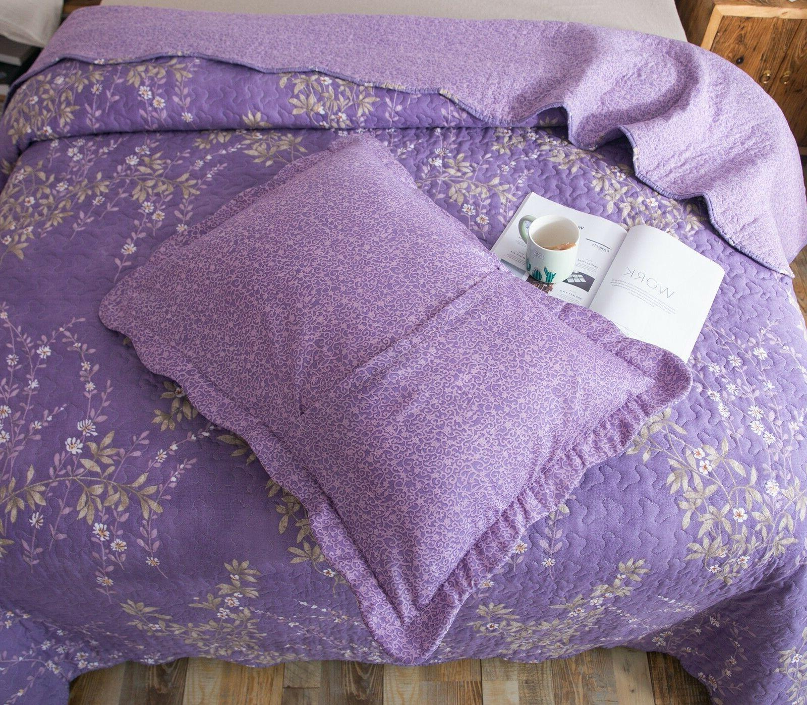 Kasentex Printed Pre-Washed Quilt Purple Floral