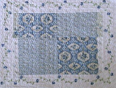 COUNTRY Cottage BLUE Floral PATCHWORK Quilt Set