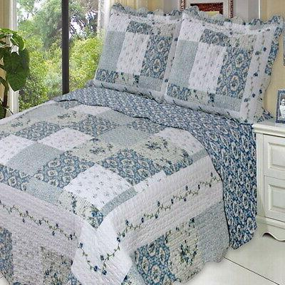 country cottage blue floral patchwork lightweight quilt