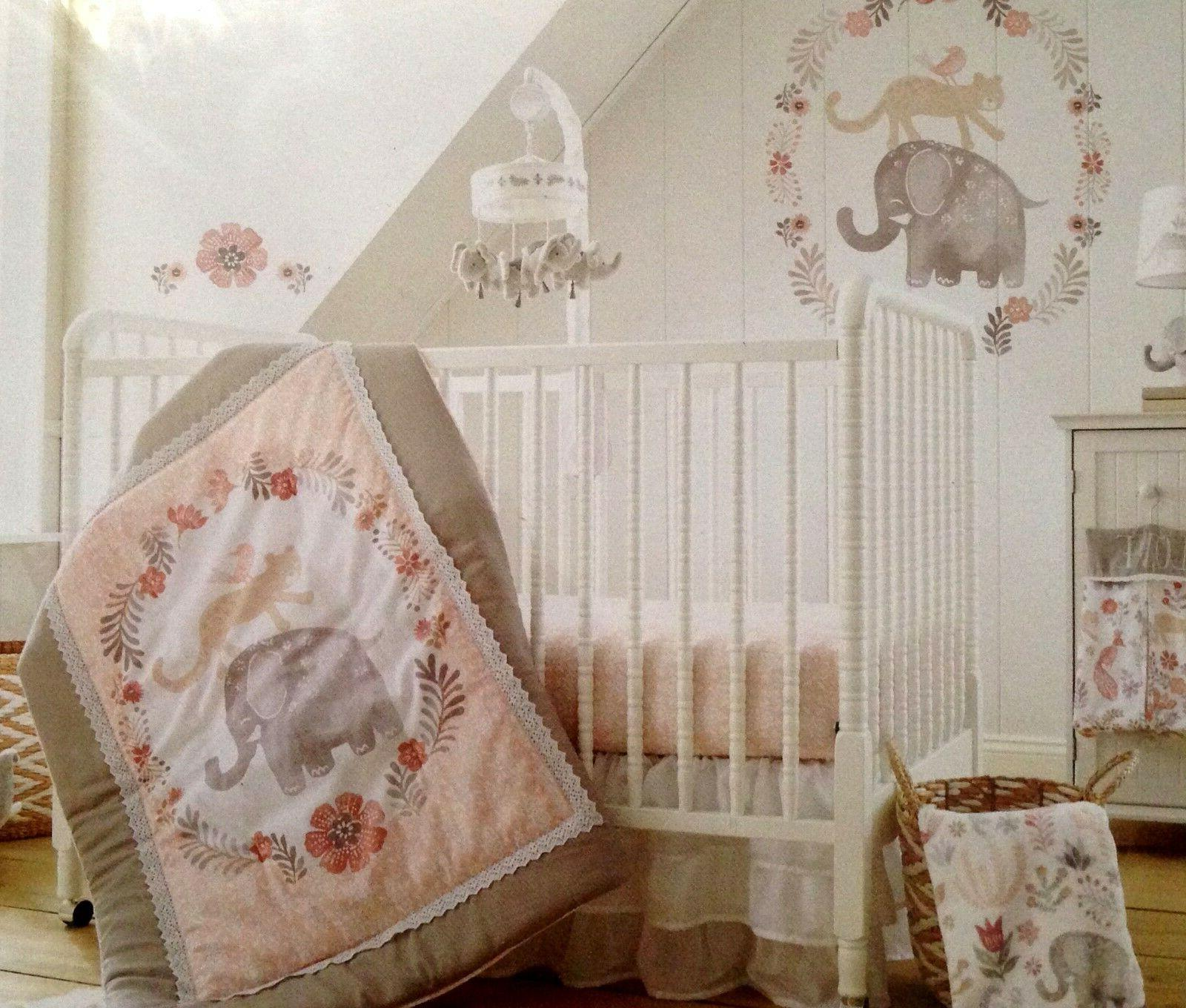 Levtex Baby Crib Set Animal Quilt Sheet Dust Ruffle Diaper