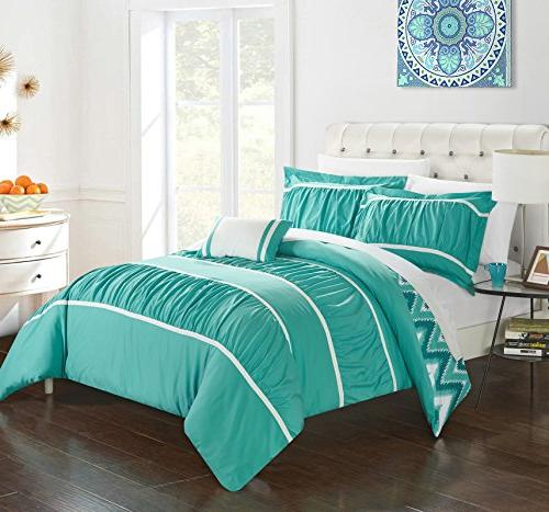 Chic Piece Bella Ruffled With Backing And Pillows Included, Full/Queen, Turquoise