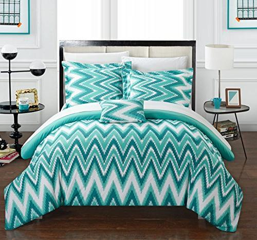Chic Piece Bella Ruffled Backing And Full/Queen, Turquoise