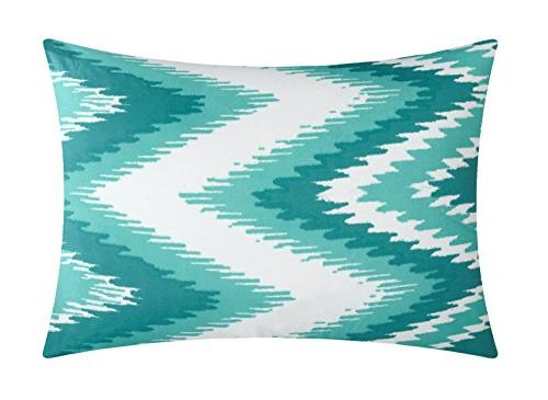 Chic Piece Pleated Ruffled With Chevron Reversible Backing And Decorative Included, Full/Queen,