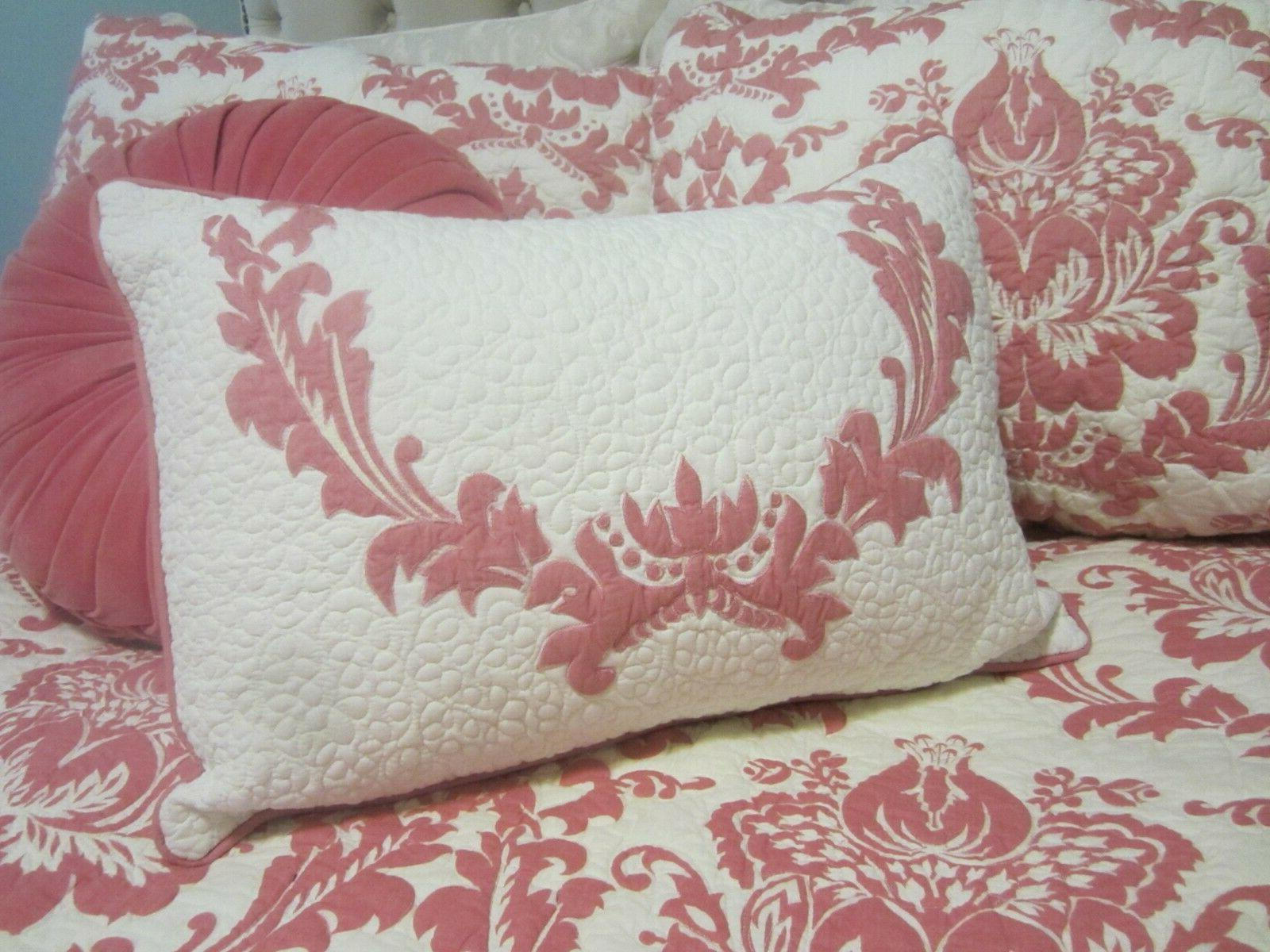 AMITY HOME PINK DAMASK TWIN SZ 2 PC QUILT SET INDIA