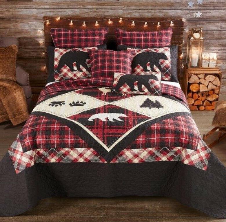 diamond bear paw 3pc queen quilt set