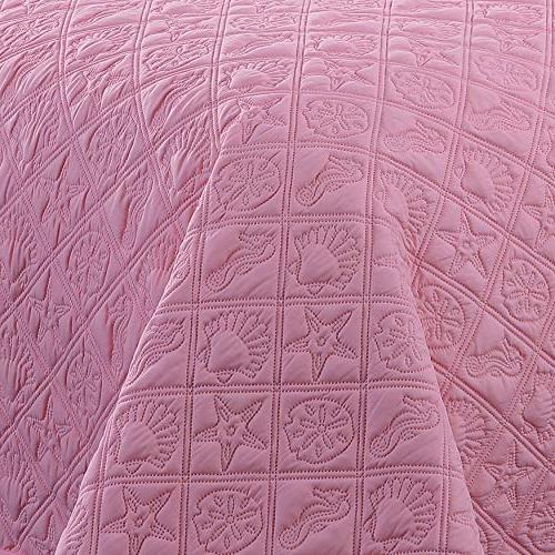 Avondale Manor Ray Quilt Set, Coral/White